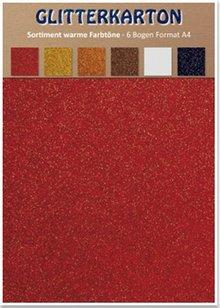 DESIGNER BLÖCKE  / DESIGNER PAPER Glitter cardboard, warm colors