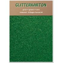 Glitter karton, 10 ark, grøn