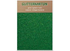 DESIGNER BLÖCKE  / DESIGNER PAPER Glitterkarton,10 Bogen, grün
