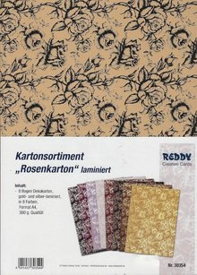 DESIGNER BLÖCKE  / DESIGNER PAPER ZURÜCK VORRÄTIG! Exclusives Kartonsortiment, Rosenkarton laminiert