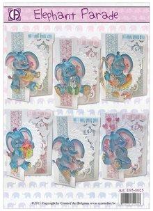 BASTELSETS / CRAFT KITS: Complete Card Set elifant Parade