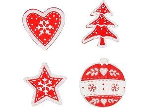 Embellishments / Verzierungen Træ, malet julemotiver