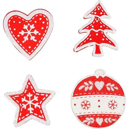 Embellishments / Verzierungen Madera, pintada de motivos navideños