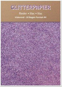 DESIGNER BLÖCKE  / DESIGNER PAPER Glitter cartone, iridescenti, 10 fogli, lilla