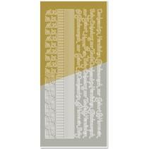 Kombineret sticker, kanter, hjørner, tekster: Baby, fødsel, dåb, guld-guld