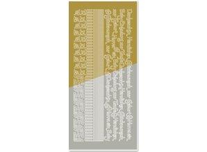 Sticker Combinati adesivo, bordi, angoli, testi: bambino, nascita, battesimo, oro-oro