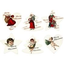 Træ etikette, 6 forskellige julemotiver