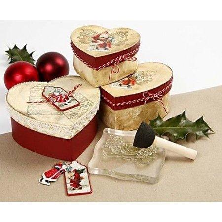 Embellishments / Verzierungen 3 Geschenkanhänger, nostalgische Weihnachtsmänner