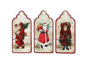 Embellishments / Verzierungen 3 Gift Tags, nostalgic Santas