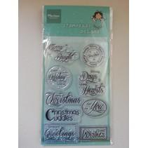 sellos transparentes, texto: Deseos de Navidad