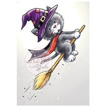 Gennemsigtige frimærker, Halloween Cat