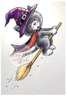 Wild Rose Studio`s Gennemsigtige frimærker, Halloween Cat