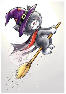 Wild Rose Studio`s Transparent stamps, Halloween Cat