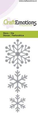 Crealies und CraftEmotions Stanz- und Prägeschablone: Schneekristallen 5 x 10 cm