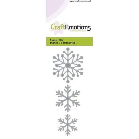 Crealies und CraftEmotions Punzonado y estampado en relieve plantilla: cristales de nieve 5 x 10 cm