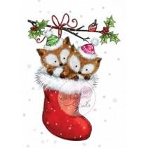 A7 Transparent stamp, 2 cute fox in a stocking