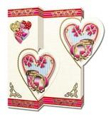 KARTEN und Zubehör / Cards Set mit 5 Karten, Herz Motive