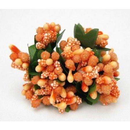BLUMEN (MINI) UND ACCESOIRES Mini Blumchen, zart orange, Vintage Look