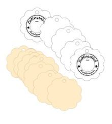 Stempel / Stamp: Holz / Wood Holze Mini stempel + 12 matchende etiketter
