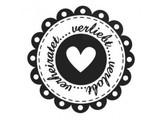 Stempel / Stamp: Holz / Wood holze Mini Stempel + 12 Etiketten im Herzform