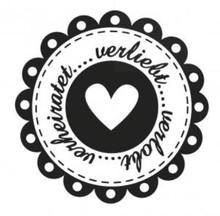 Stempel / Stamp: Holz / Wood Holze mini bollo + 12 etichette a forma di cuore