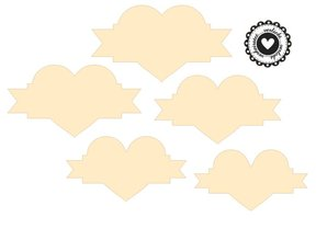 Stempel / Stamp: Holz / Wood Holze Mini stempel + 12 etiketter i hjerte form