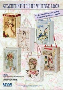 BASTELSETS / CRAFT KITS: Craft libretto contenenti 12 sacchetti regalo, Vintage e nostalgia