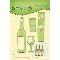 Stanz- und Prägeschablonen: zum Fest, Flasche und Gläser