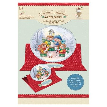 "BASTELSETS / CRAFT KITS: A5 Easel Decoupage Card Kit, ""Winter Wishes"""