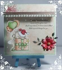 Wild Rose Studio`s A7, Transparent frimærker, jul Teddy med gave