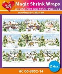BASTELZUBEHÖR / CRAFT ACCESSORIES Magic shrink film Winter Village (⌀ 6 cm)