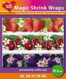 BASTELZUBEHÖR / CRAFT ACCESSORIES Magic shrink film, frugter (⌀ 8 cm)