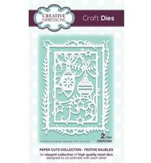 Creative Expressions Stansning og prægning skabeloner: dekorative ramme med julekugler