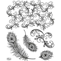 sellos transparentes, plumas del pavo
