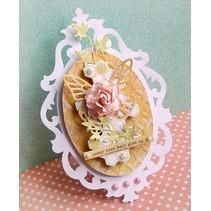 Stampaggio e la cartella goffratura SET: 4 ovale cornice decorativa