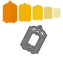 Stempling og prægning mappe SET: 5 dekorative frame / Etiketter