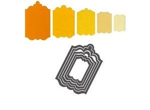 Sizzix Stempling og prægning mappe SET: 5 dekorative frame / Etiketter