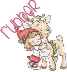 C.C.Designs Timbro di gomma: Angelo con le renne