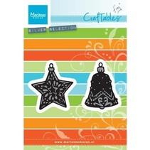 Troquelado y estampado en relieve plantilla: Tiny ornamentos estrella y la campana