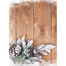 La cartulina de Navidad, tarjetas de madera con ramas