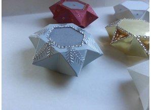 Dekoration Schachtel Gestalten / Boxe ... Schablone, Sternenbox, 14,5x12,5cm, 3teilig