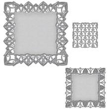 Spellbinders und Rayher Troquelado y estampado en relieve plantilla: rectángulo marco decorativo