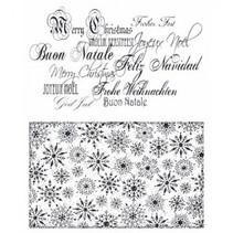 Gennemsigtige frimærker: Julen baggrund, skrifttype og Schneeflöcken