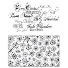Stempel / Stamp: Transparent Transparente Stempel: Weihnachtshintergrund, Schrift und Schneeflöcken