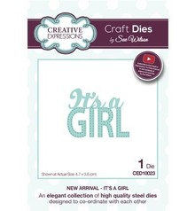 "Creative Expressions Punching and embossing template: Text ""Its a GIRL"""