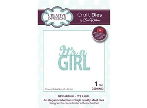 """Creative Expressions Punching and embossing template: Text """"Its a GIRL"""
