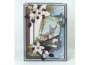 Marianne Design Troquelado y estampado en relieve plantilla: Ramas de pino