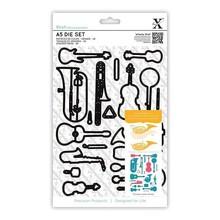 Docrafts / Papermania / Urban Stansning og prægning skabeloner: Musikinstrumenter