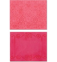 embossing Präge Folder Goffratura cartelle: Scroll Frame / Succulente Set