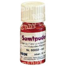 polvo de terciopelo, viales de 25 ml, de color rojo